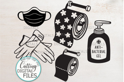 Quarantine elements mask gloves sanitizer toilet paper svg