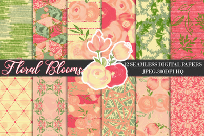 Spring Orange Flowers Digital Papers, Watercolor Floral Backgrounds