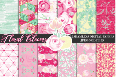 Pink Wedding Flowers Digital Papers, Floral Seamless Backgrounds