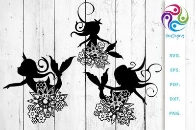 Floral Mermaids Silhouettes SVG Cut File Bundle