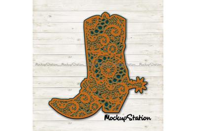 Cowboy Boot 3D Mandala SVG, Southern Western Lace Cut File Template