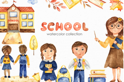 SCHOOL watercolor collection. Clipart, cards, patterns