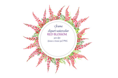 watercolor round frame, wreath with red flowers
