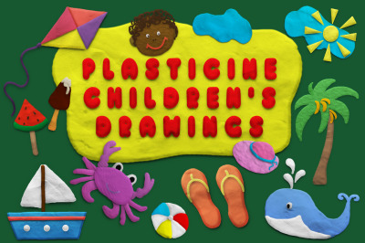 Children's plasticine drawings on the theme of summer