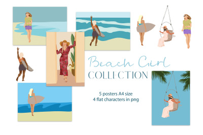 Beach girl flat illustration , 4 png, 5 posters