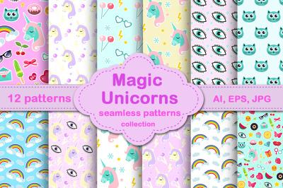 Magic unicorn pattern and stickers set