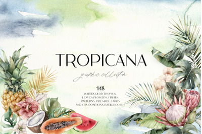 TROPICANA. Watercolor tropical leaves, flowers, fruits