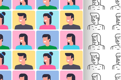 Seamless pattern with People icons
