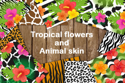 Tropical flowers and animal skin seamless pattern