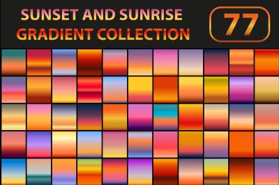 Sunset and sunrise gradient set