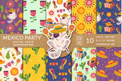 Mexico party prints, seamless patterns. Summer holidays.