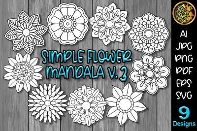 Simple Flower Mandala Set-3