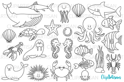 Sea Creatures Digital Stamps, Under the Sea Clip Art, Whale