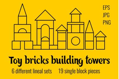 Toy bricks building towers