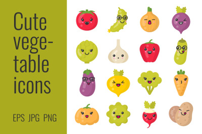Cute vegetable icons