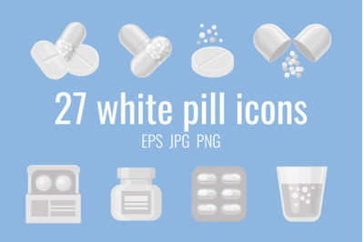 27 white pill and drug icons