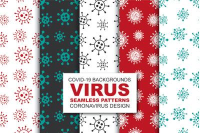 Doodle color seamless virus patterns