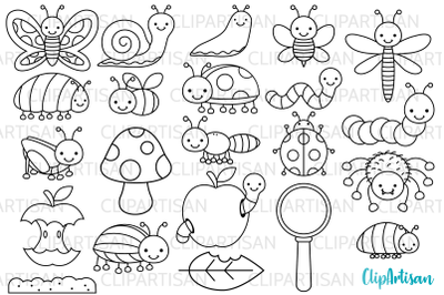 Bugs Clip Art, Insect Digital Stamps, Mini Beasts
