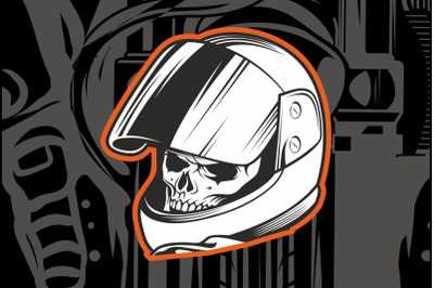 skull wearing a racer's helmet hand drawing vector