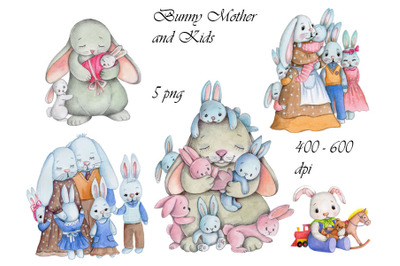 Bunny Mother and Kids. Watercolor.
