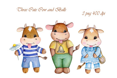 Little Cow and Bulls. Watercolor illustrations.