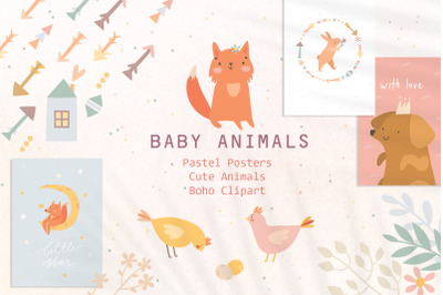 Cute Baby animals Boho clipart
