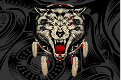 4-eyed angry wolf roars hand drawing vector