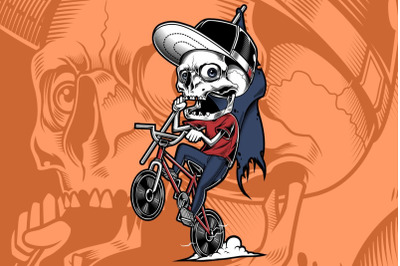 the skull of a young man riding a bicycle holding a flag hand drawing