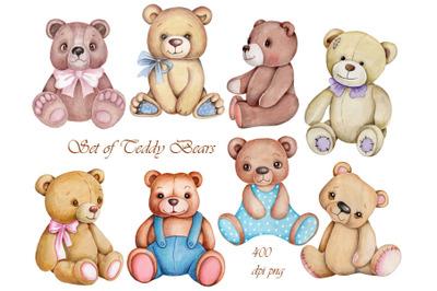 Set of Cute Teddy Bears. Illustrations.