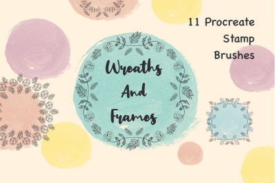 Flower Wreaths and Frames Procreate Stamp Brushes