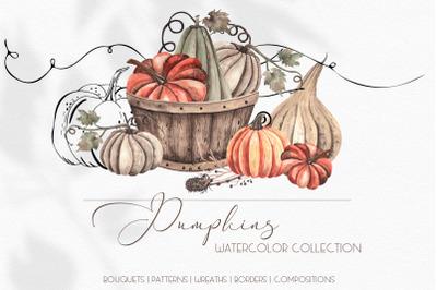 Watercolor Autumn Pumpkins