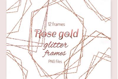 Rode gold frames clipart Glitter Polygonal frame Invitation decor