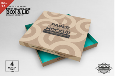 Paper Large Square Box and Lid Packaging Mockup