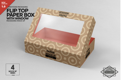 Paper Flip Top Box with Window Packaging Mockup