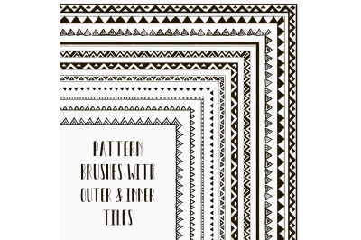 Hand-drawn Vector pattern brushes. With outer and inner tiles corners.