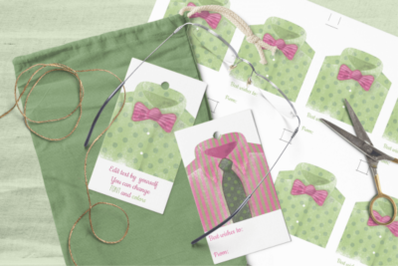 Printable Father's Day Gift Tags Templates Watercolor Men's Shirts