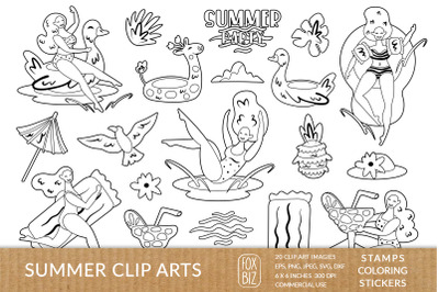 Summer girls clipart. Digital prints, stamps. Coloring page.