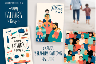 Happy Fathers Day. Cards and Pattern