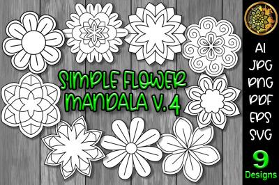Simple Flower Mandala Set-4