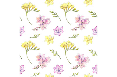 Freesia watercolor floral seamless pattern