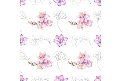 Beautiful freesia blossom watercolor and pen ink seamless pattern