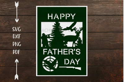 Hunting Fathers day card for paper laser cut out cricut svg