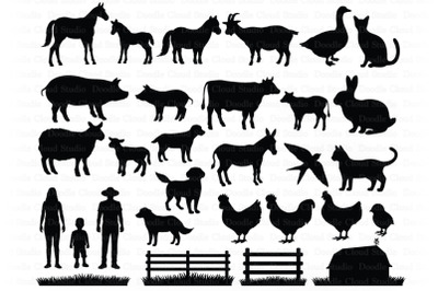 Farm SVG, Farm Animals SVG Cut Files. Hen, Rooster, Cow, Pig, Horse.
