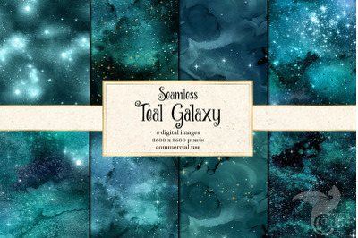 Teal Galaxy Digital Paper
