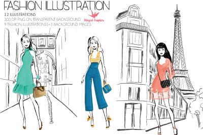 fashion illustration set : summer style