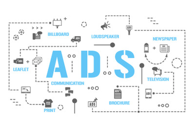 ADS word concepts banner and icons