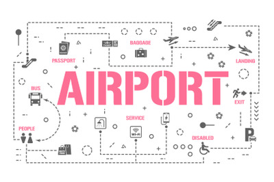 Airport word concepts banner and icons