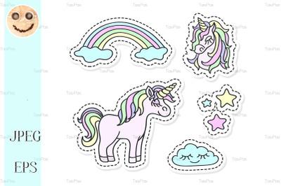 Unicorn and rainbow vector sticker set.
