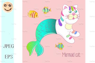 Cute mermaid cat purrmaid with green tail.