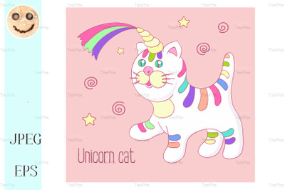 Unicorn cat with rainbow horn and stripes isoleted.